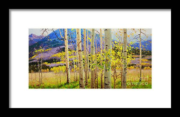 Aspen Forest Tree Framed Print featuring the painting Beauty of Aspen Colorado by Gary Kim