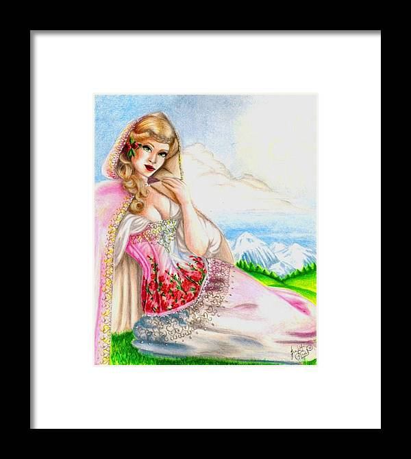 Figure Framed Print featuring the drawing Beauty Of The View by Scarlett Royal