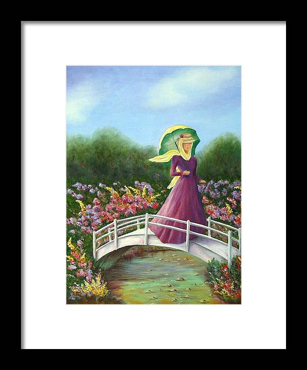 Lady With Flowers Framed Print featuring the painting Beauty Wherever She Goes by Merle Blair