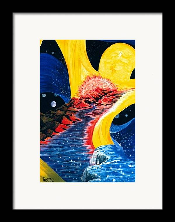 Woman Floating In Space Framed Print featuring the painting Beauty Within by Pam Ellis