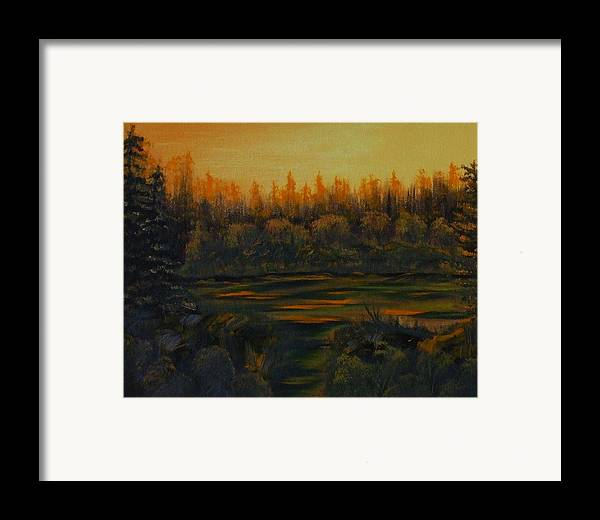Landscape Framed Print featuring the painting Beaver Pond At Sunset by Rebecca Fitchett