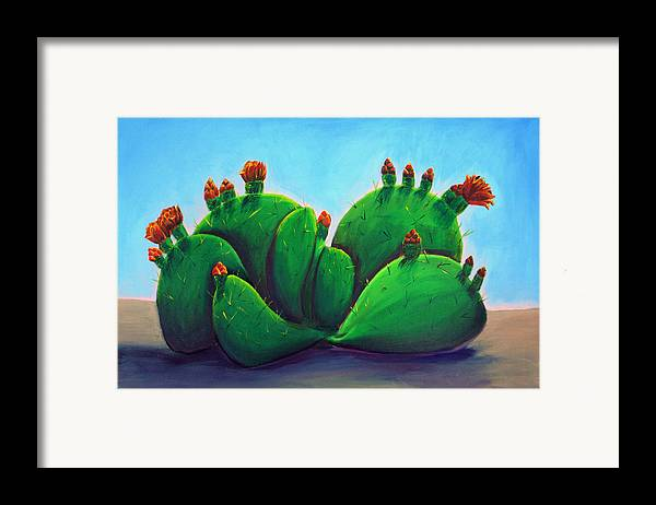 Cactus Framed Print featuring the painting Beavertail Cactus by Karen Aune