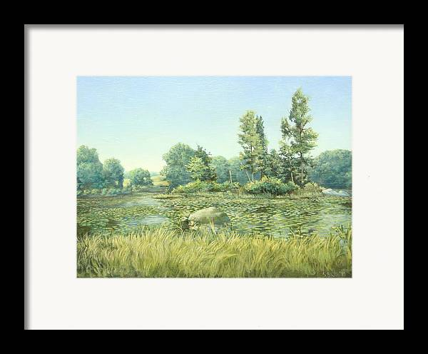 Landscape Framed Print featuring the painting Beavor Pond by Stephen Bluto