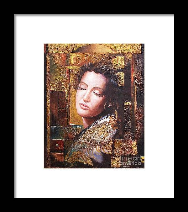Female Portrait Framed Print featuring the painting Because You Are Beautiful by Sinisa Saratlic