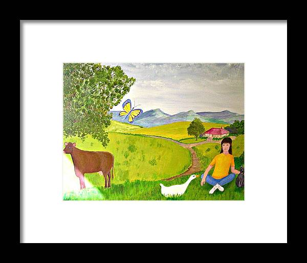 Naive Framed Print featuring the painting Becky And The Butterfly by Fran Caldwell