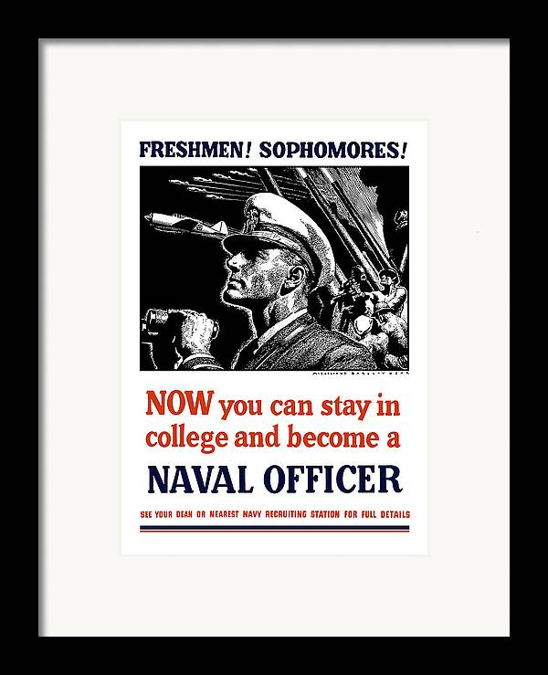 Navy Framed Print featuring the mixed media Become A Naval Officer by War Is Hell Store