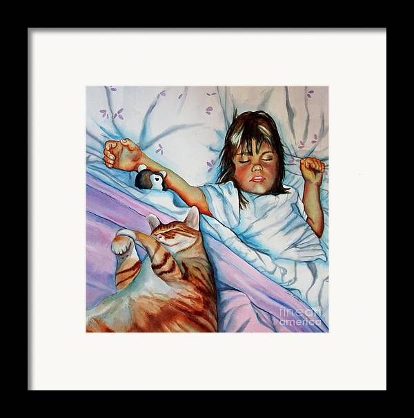 Child Framed Print featuring the painting Bed Buddies by Gail Zavala
