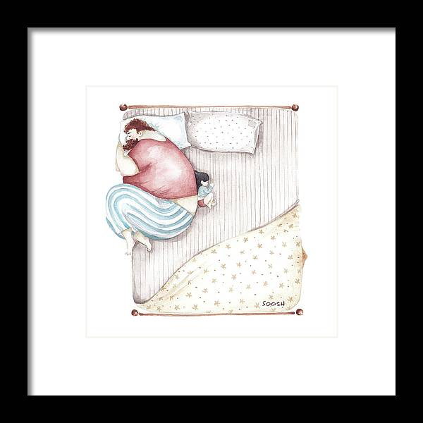 Illustration Framed Print featuring the painting Bed. King Size. by Soosh