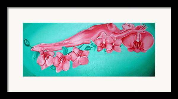 Nude Figurative Nude Female Orchids Flowers Erotic Framed Print featuring the painting Bed Of Orchids by Davinia Hart