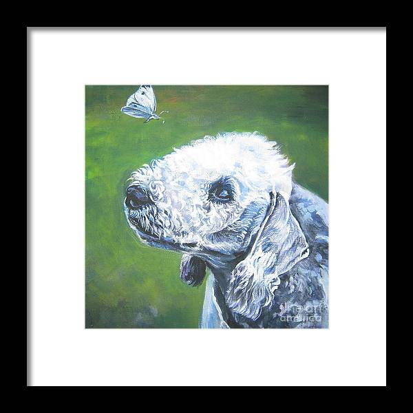 Bedlington Terrier Framed Print featuring the painting Bedlington Terrier With Butterfly by Lee Ann Shepard