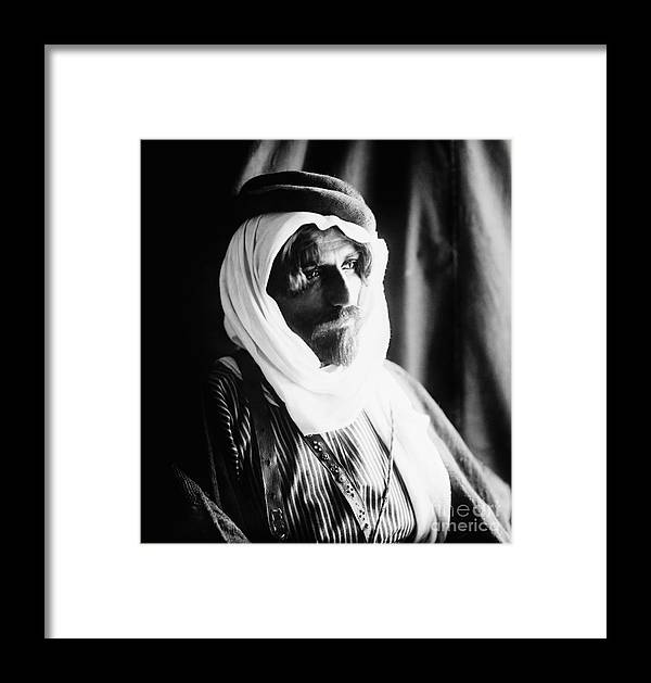 1910 Framed Print featuring the photograph Bedouin Man, C1910 by Granger