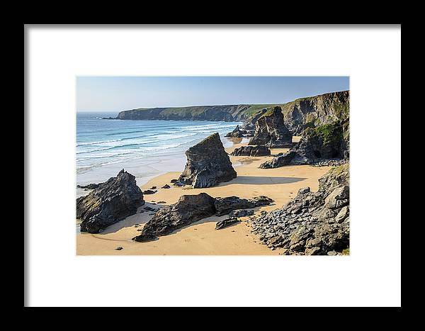 Bedruthan Framed Print featuring the photograph Bedruthan Steps, Cornwall by Chris Warham