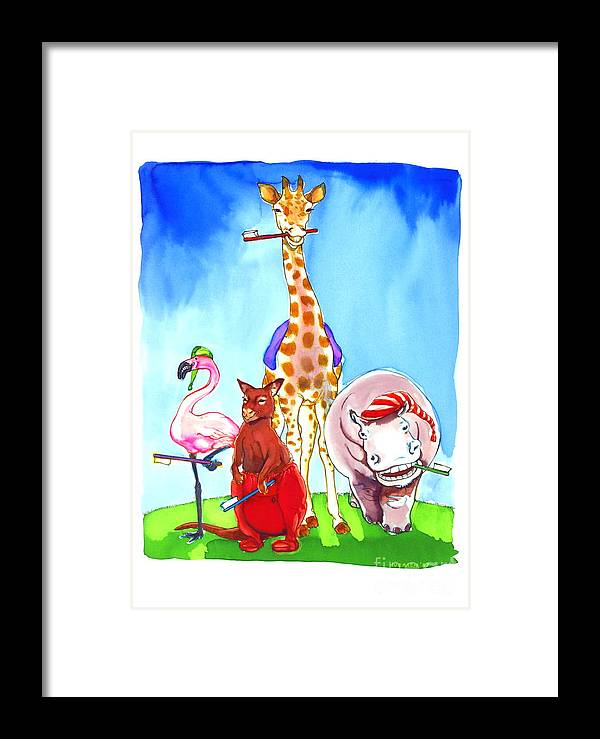 Wildlife Framed Print featuring the painting Bedtime Animals by Jill Iversen
