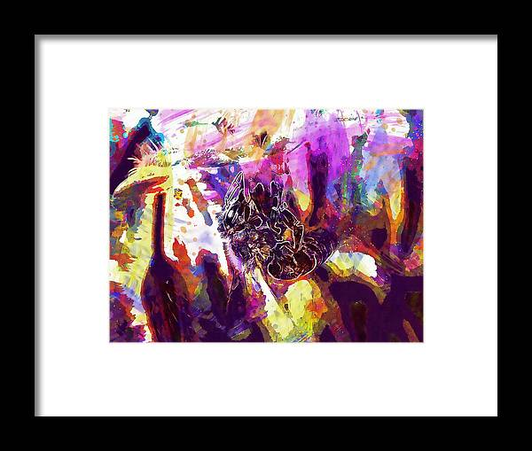 Bee Framed Print featuring the digital art Bee Close Insect Flower by PixBreak Art