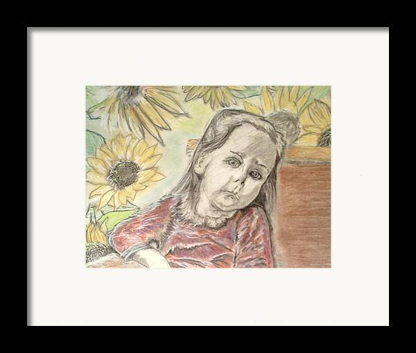 Flowers Framed Print featuring the drawing Bee In The Flowers by J Bauer