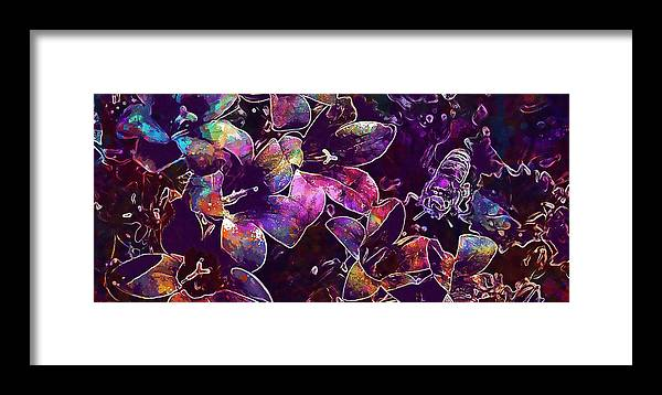 Bee Framed Print featuring the digital art Bee Insect Close Macro Flower by PixBreak Art