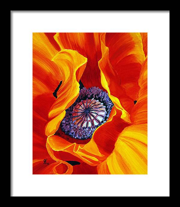 Macro Flower Framed Print featuring the painting Bee by Julie Pflanzer