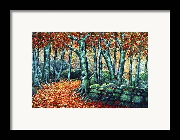 Landscape Framed Print featuring the painting Beech Woods by Frank Wilson