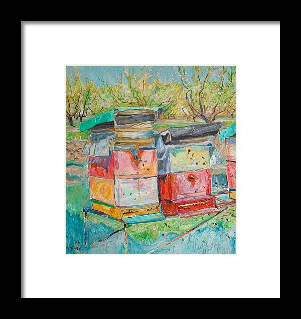Landscape Framed Print featuring the painting Beehives In Orchard by Vitali Komarov