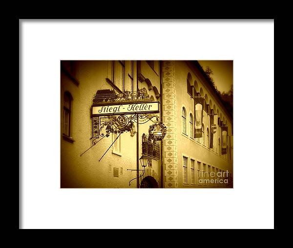 Beer Hall Framed Print featuring the photograph Beer Cellar In Salzburg by Carol Groenen