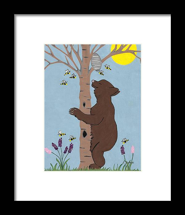 Brown Bear Framed Print featuring the painting Bees And The Bear by Kathleen Sartoris