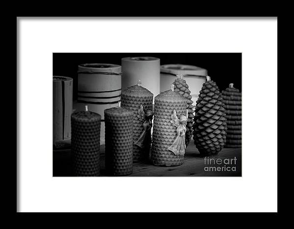 Candles Framed Print featuring the photograph Beeswax Candles With Angels And Pinecones by Colin Cuthbert