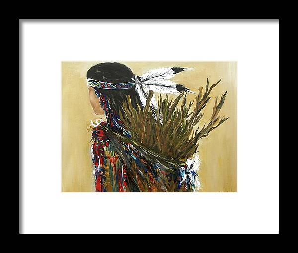 Before Cooking Indian Girl Woman Caring Wood Camp Fire Apache Framed Print featuring the painting Before Cooking by Miroslaw Chelchowski