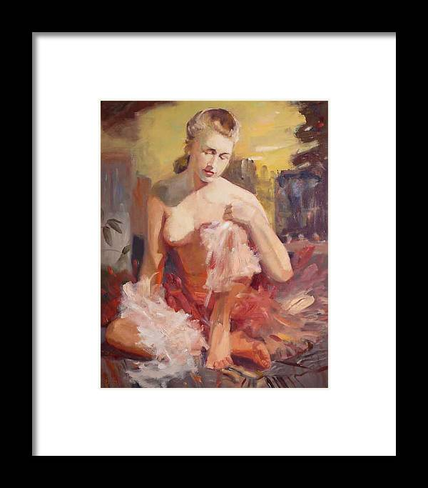 A Seated Figure Of A Pensive Delicate Girl In A Contemporary Ballet Attire Framed Print featuring the painting sold Before Dance by Irena Jablonski