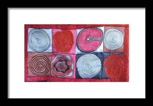 Abstract Framed Print featuring the tapestry - textile Beginning Of Life by Aliza Souleyeva-Alexander