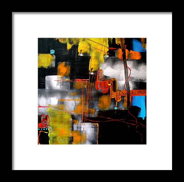 Abstract Framed Print featuring the painting Behind An Autumn Scene by Jane Ferguson