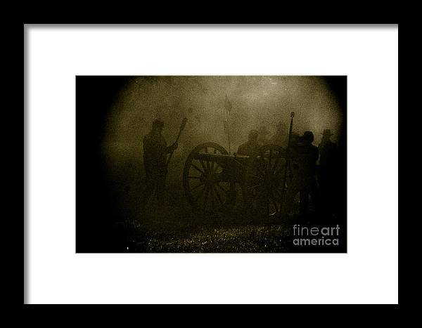 Civil War Re-enactment Framed Print featuring the photograph Behind The Smoke by Kim Henderson