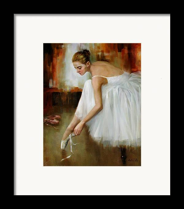 Figurative Painting Framed Print featuring the painting Behind The Stage by Kelvin Lei