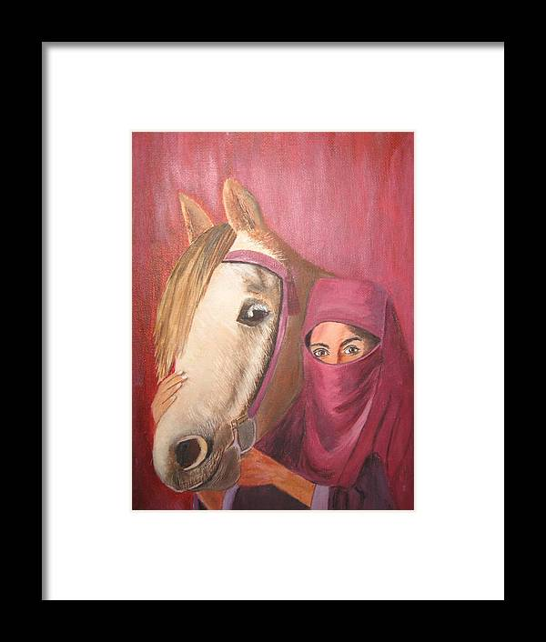 Escape Horse Framed Print featuring the painting Behind The Veil by Terri Warner