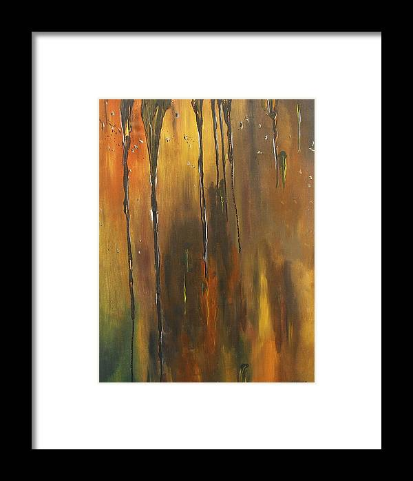 Abstract Framed Print featuring the painting Behind The Window by Miroslaw Chelchowski
