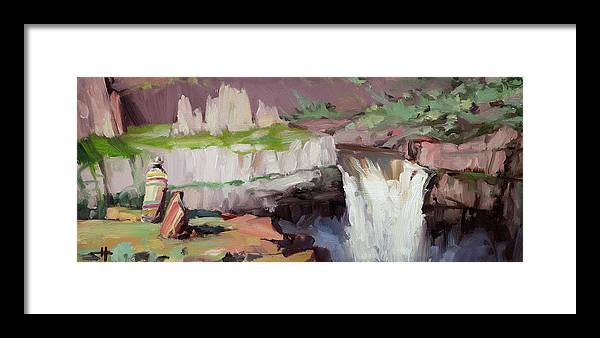Waterfall Framed Print featuring the painting Beholding Palouse Falls by Steve Henderson