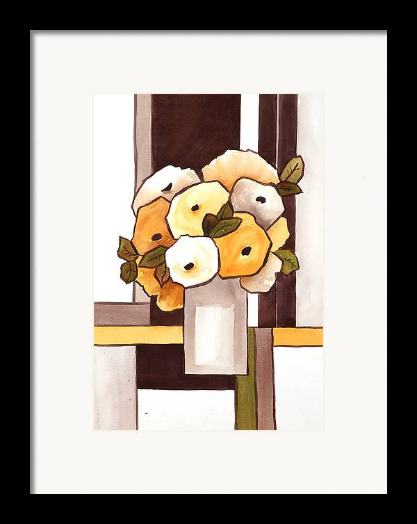Painting Framed Print featuring the painting Beige And Brown Funny Flowers by Carrie Allbritton