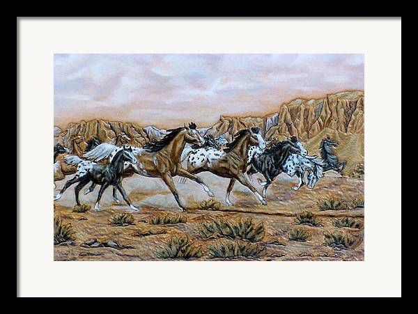 Horses Framed Print featuring the painting Being Free by Lilly King