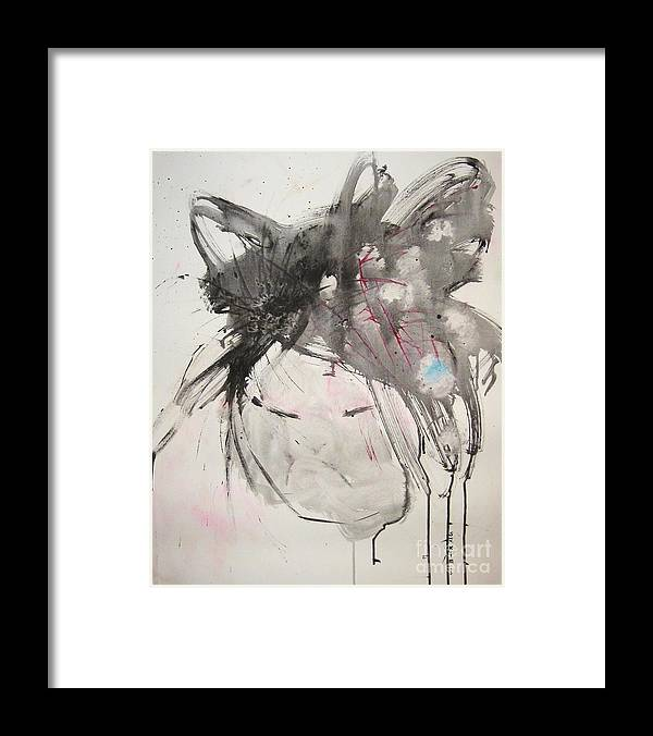 Black And White Paintings Framed Print featuring the painting Being Patient by Seon-Jeong Kim