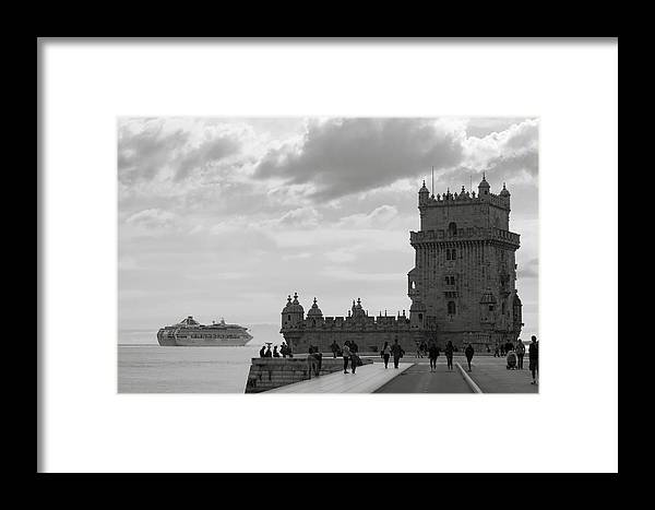 Lisbon Framed Print featuring the photograph Belem And The Boat by Lorraine Devon Wilke