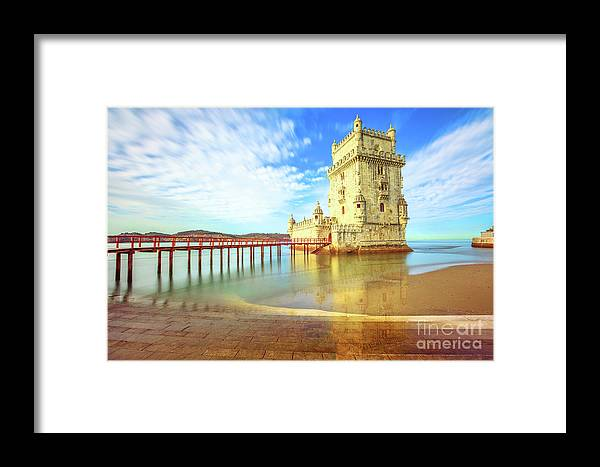 Lisbon Framed Print featuring the photograph Belem Tower Reflects by Benny Marty