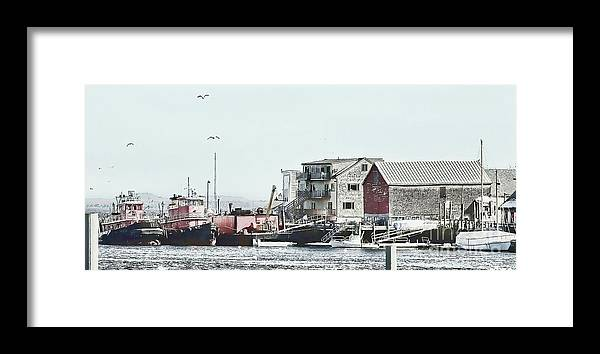 Maine Framed Print featuring the photograph Belfast Tugs 2 by Laura Mace Rand