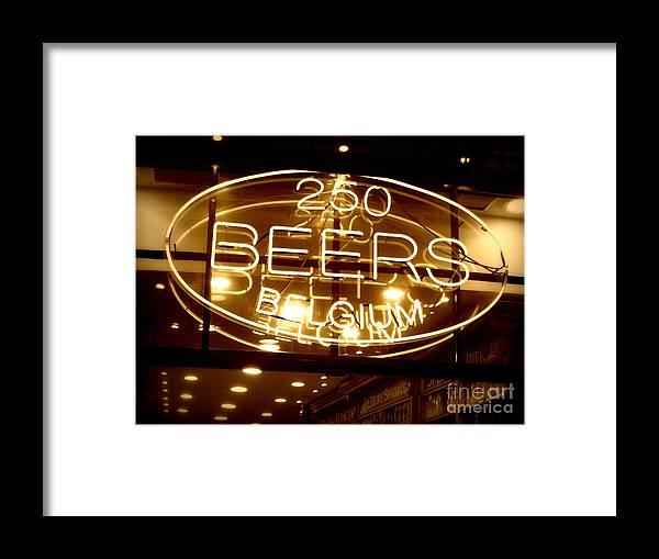 Home Bar Framed Print featuring the photograph Belgian Beer Sign by Carol Groenen