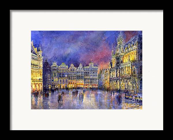 Watercolour Framed Print featuring the painting Belgium Brussel Grand Place Grote Markt by Yuriy Shevchuk