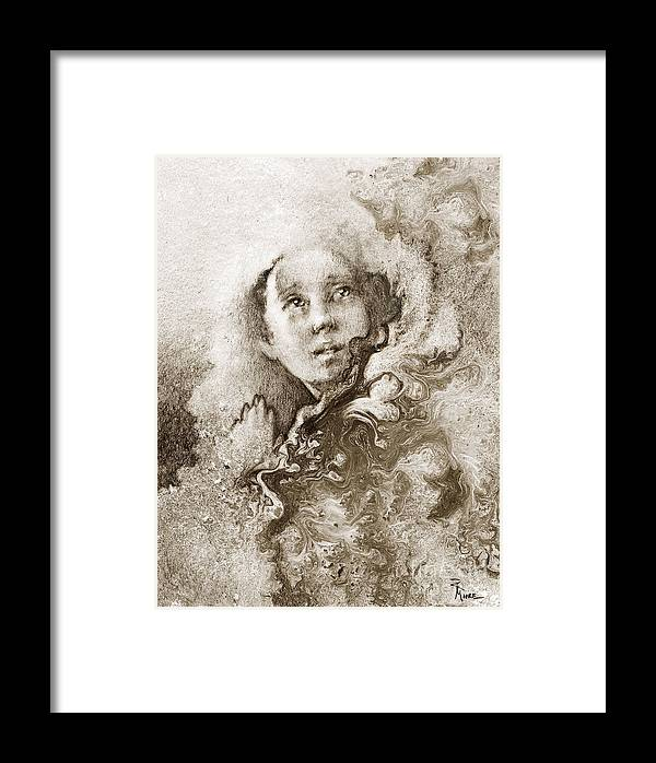 Abstract Framed Print featuring the drawing Believe Like I Believe by Rick Moore