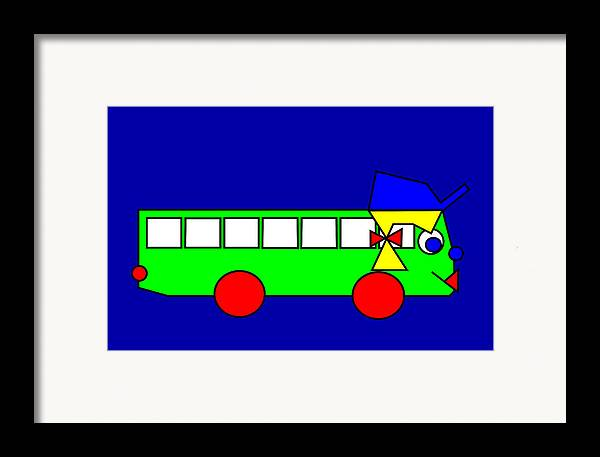 Belinda Framed Print featuring the digital art Belinda The Bus by Asbjorn Lonvig