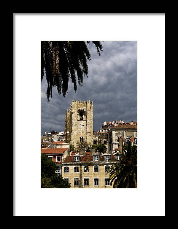 Lisbon Framed Print featuring the photograph Bell Tower Against Roiling Sky by Lorraine Devon Wilke