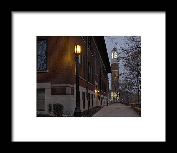 Purdue Framed Print featuring the photograph Bell Tower At Night Color by Coby Cooper