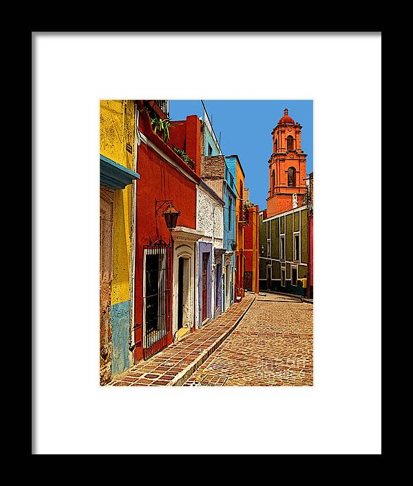 Old Mexico Framed Print featuring the photograph Bell Tower View by Mexicolors Art Photography