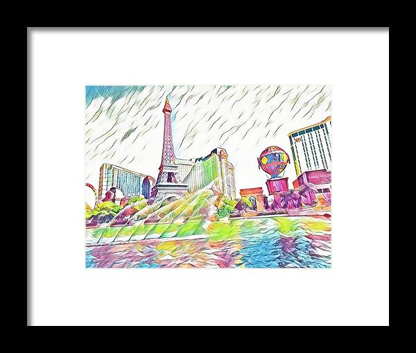 Las Vegas Framed Print featuring the mixed media Bellagio Fountains by Aurora Bautista