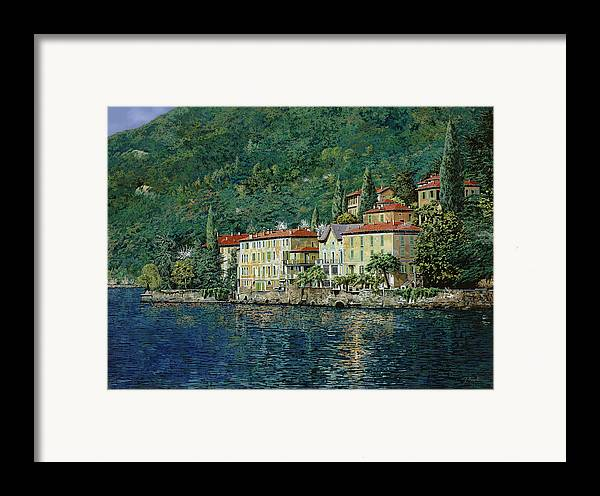 Landscape Framed Print featuring the painting Bellano On Lake Como by Guido Borelli